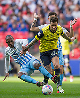 Kyel Reid of Coventry City jumps in on Chris Maguire of Oxford United during the The Checkatrade Trophy / EFL Trophy FINAL match between Oxford United and Coventry City at Wembley Stadium, London, England on 2 April 2017. Photo by Andy Rowland.