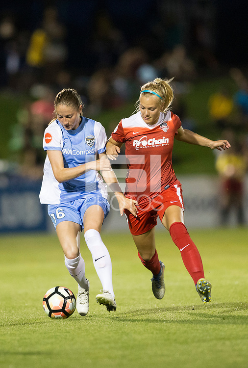 Boyds, MD - Saturday April 29, 2017: Janine Beckie, Line Sigvardsen-Jensen during a regular season National Women's Soccer League (NWSL) match between the Washington Spirit and the Houston Dash at Maureen Hendricks Field, Maryland SoccerPlex. The Dash won 1-0.