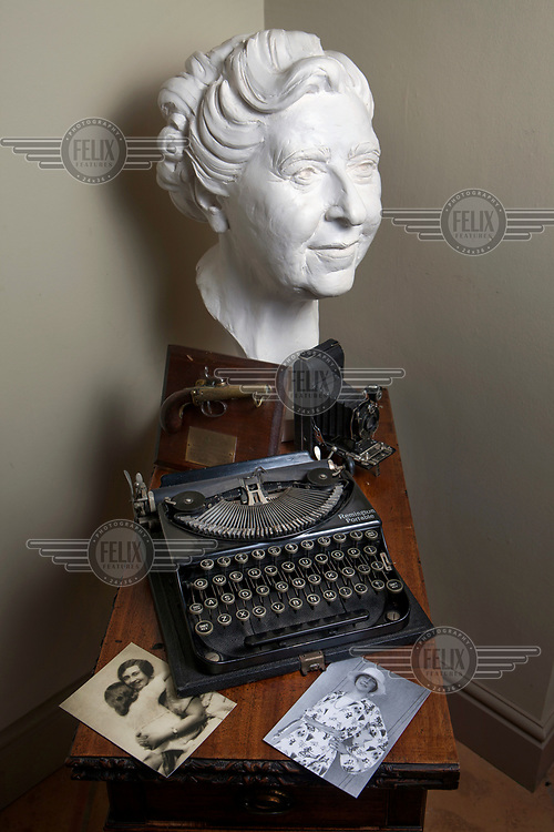 A bust of Agatha Christie and other items in the archive of her life and work which is run by her grandson, Mathew Pritchard.