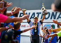 Aug 20, 2017; Brainerd, MN, USA; NHRA pro stock motorcycle rider Jerry Savoie celebrates after winning the Lucas Oil Nationals at Brainerd International Raceway. Mandatory Credit: Mark J. Rebilas-USA TODAY Sports