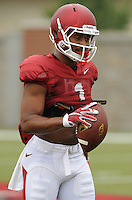 NWA Democrat-Gazette/ANDY SHUPE<br /> Arkansas receiver Jared Cornelius makes a catch Tuesday, Aug. 18, 2015, during practice at the university's practice field in Fayetteville.