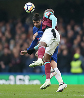 Chelsea's Alvaro Morata and West Ham United's Angelo Ogbonna<br /> <br /> Photographer Rob Newell/CameraSport<br /> <br /> The Premier League - Chelsea v West Ham United - Sunday 8th April 2018 - Stamford Bridge - London<br /> <br /> World Copyright &copy; 2018 CameraSport. All rights reserved. 43 Linden Ave. Countesthorpe. Leicester. England. LE8 5PG - Tel: +44 (0) 116 277 4147 - admin@camerasport.com - www.camerasport.com