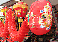Paper lanterns hang in colorful Stanley Market, Hong Kong