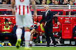 Stoke City 1 West Bromwich Albion 1, 24/09/2016. Bet365 Stadium, Premier League. Mark Hughes Manager of Stoke City, gestures from the dug out. Photo by Paul Thompson.