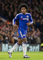Goalscorer Willian of Chelsea during the UEFA Champions League group G match between Chelsea and FC Porto at Stamford Bridge, London, England on 9 December 2015. Photo by Andy Rowland.