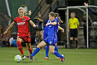 Portland, OR - Saturday July 30, 2016: Dagny Brynjarsdottir, Kendall Fletcher during a regular season National Women's Soccer League (NWSL) match between the Portland Thorns FC and Seattle Reign FC at Providence Park.