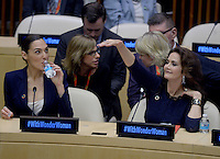 NEW YORK, NY - OCTOBER 21: Actors Gal Gadot and Lynda Carter on hand as the UN names Wonder Woman as its Honorary Ambassador for the Empowerment of Women and Girls during a ceremony at the United Nations Economic and Social Council Chamber on October 21, 2016, in New York. Credit: Dennis Van Tine/MediaPunch