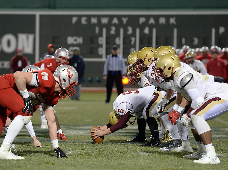 (Boston, MA, 11/25/15) Boston College High School takes n Catholic Memorial in the fourth quarter of a high school football game at Fenway Park in Boston on Wednesday, November 25, 2015. Staff photo by Christopher Evans