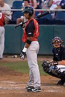 August 14, 2007: Salem-Keizer Volcanoes' infielder Sharlon Schoop gets signs from the third base coach during an at-bat against the Everett AquaSox in a Northwest League game at Everett Memorial Stadium in Everett, Washington.