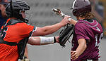 Edwardsville catcher Jacob Kitchen (left) puts the tag on Belleville West baserunner Joey Kossina at home plate for the out. Edwardsville defeated Belleville West in a semifinal of the Class 4A Bloomington boys baseball sectional which was played in O'Fallon, IL on Wednesday May 29, 2019.<br /> Tim Vizer/Special to STLhighschoolsports.com