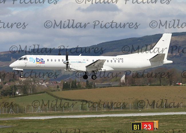A Flybe operated by Logair Saab 2000 Registration G-LGNR at Glasgow Airport on 23.4.16 arriving from Sumburgh Airport.