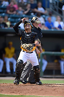***Temporary Unedited Reference File***Jacksonville Suns catcher Francisco Arcia (28) during a game against the Mississippi Braves on May 1, 2016 at The Baseball Grounds in Jacksonville, Florida.  Jacksonville defeated Mississippi 3-1.  (Mike Janes/Four Seam Images)