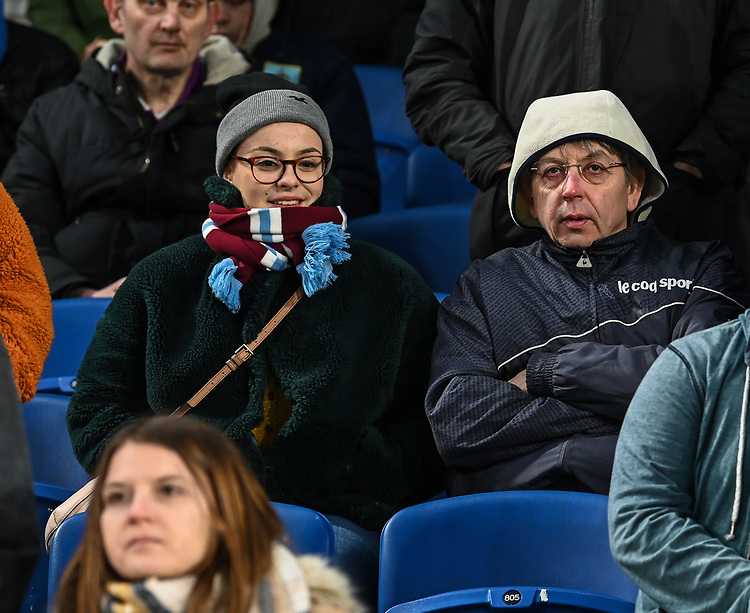 Burnley fans<br /> <br /> Photographer David Horton/CameraSport<br /> <br /> The Premier League - Brighton and Hove Albion v Burnley - Saturday 9th February 2019 - The Amex Stadium - Brighton<br /> <br /> World Copyright &copy; 2019 CameraSport. All rights reserved. 43 Linden Ave. Countesthorpe. Leicester. England. LE8 5PG - Tel: +44 (0) 116 277 4147 - admin@camerasport.com - www.camerasport.com