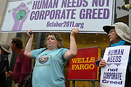 October 13, 2011  (Washington, DC)  Members of the group October2011 protested outside of a Wells Fargo Bank branch in downtown Washington.  At one point, protesters went inside the bank. Police removed the protesters with no arrests, but the branch closed while protesters remained outside.   (Photo by Don Baxter/Media Images International)