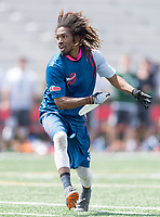 "Washington, DC - APR 22, 2018: DC Breeze Delrico Johnson (3) in action during AUDL game between DC Breeze and the Ottawa Outlaws. The DC Breeze get the win 26-19 over Ottawa in the Battle of the Capitals"" at Catholic University Washington, DC. (Photo by Phil Peters/Media Images International)"