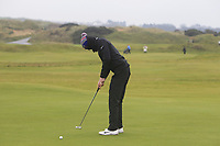 Tom McKibbin (Holywood) on the 12th green during Round 2 of the Ulster Boys Championship at Portrush Golf Club, Portrush, Co. Antrim on the Valley course on Wednesday 31st Oct 2018.<br /> Picture:  Thos Caffrey / www.golffile.ie<br /> <br /> All photo usage must carry mandatory copyright credit (&copy; Golffile | Thos Caffrey)