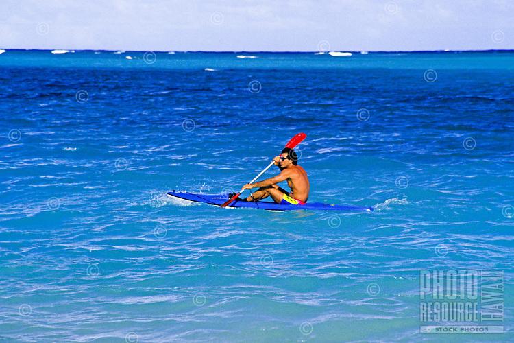 EDITORIAL ONLY. Kayaking Hanalei Bay, Kauai