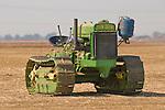 Annual ACMOC Caterpillar Tractor show at the Best Ranch near Woodland, CA..John Deere Model B Lindeman crawler tractor
