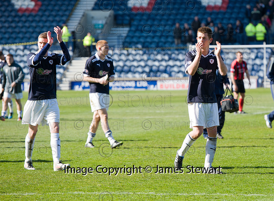 Raith players at the end of the game.