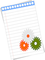 Blank notepad page with flowers with Indian flags colors.Background.Vector illustration.<br />