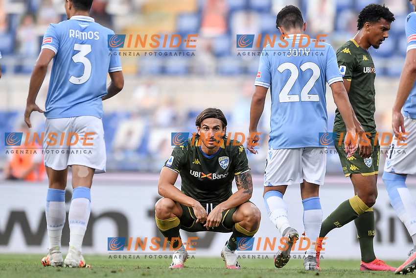 Ernesto Torregrossa of Brescia<br /> during the Serie A football match between SS Lazio  and Brescia Calcio at stadio Olimpico in Roma (Italy), July 29th, 2020. Play resumes behind closed doors following the outbreak of the coronavirus disease. <br /> Photo Antonietta Baldassarre / Insidefoto