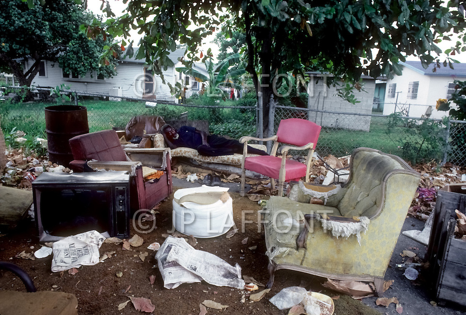 Miami,Florida, U.S.A, September, 1980. America severely marked by the recession. View of a ghetto in Liberty City.