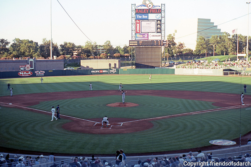 Ballparks: Sacramento--Raley Field, 2000. Panorama of field at game time, 7:05 PM.