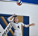 Althoff's Mia Orlet serves the ball against Columbia. Althoff defeated Columbia in two games in volleyball action on Thursday August 23, 2018.<br /> Tim Vizer/Special to STLhighschoolsports.com