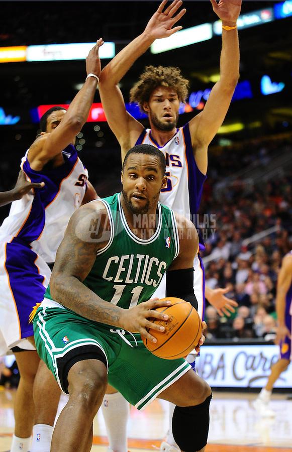 Jan. 28, 2011; Phoenix, AZ, USA; Boston Celtics forward (11) Glenn Davis in the second quarter against the Phoenix Suns at the US Airways Center. Mandatory Credit: Mark J. Rebilas-