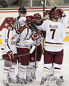 Danny Linell (BC - 10), Austin Cangelosi (BC - 26), Johnny Gaudreau (BC - 13), Isaac MacLeod (BC - 7) - The Boston College Eagles defeated the visiting St. Francis Xavier University X-Men 8-2 in an exhibition game on Sunday, October 6, 2013, at Kelley Rink in Conte Forum in Chestnut Hill, Massachusetts.