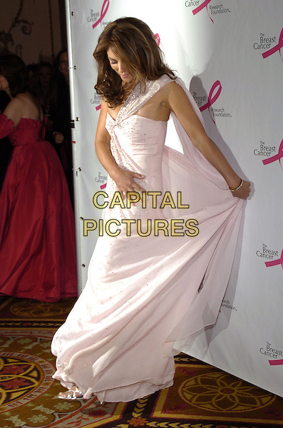 ELIZABETH HURLEY.Breast Cancer Reaserch Foundation annual Hot Pink Party at the Waldorf-Astoria, New York, New York, USA..April 24th, 2007.full length one shoulder pink jewel encrusted beaded Liz dress curtsy bow hand funny .CAP/ADM/BL.©Bill Lyons/AdMedia/Capital Pictures *** Local Caption ***