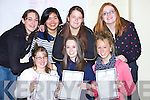 SMILING FACES: Smiling faces from the students from Presentation Secondry School, Tralee as they were very happy with their results in their Junior Certs. Front l-r: Karen McCarthy,Aisling Moriarty and Kate Mac Gowan. Back l-r: Fary Mannion,Joanna Ycasas, Rebecca O'Brien and Bri?d O'Connor..
