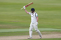 Dominic Sibley of Warwickshire raises his bat to celebrate reaching his fifty during Warwickshire CCC vs Essex CCC, Specsavers County Championship Division 1 Cricket at Edgbaston Stadium on 10th September 2019