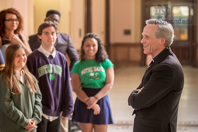 Apr. 28, 2015; Fr. Jenkins chats with Annexstad Scholars. (Photo by Matt Cashore/University of Notre Dame)