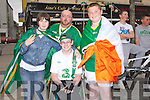 HAPPY: In the square Tralee to watch the big game on the big screen Ireland V Ctroiata, Aoife Murphy (Abbeyfeale), Robbie,Martin and Dylan O'Sullivan Tralee...