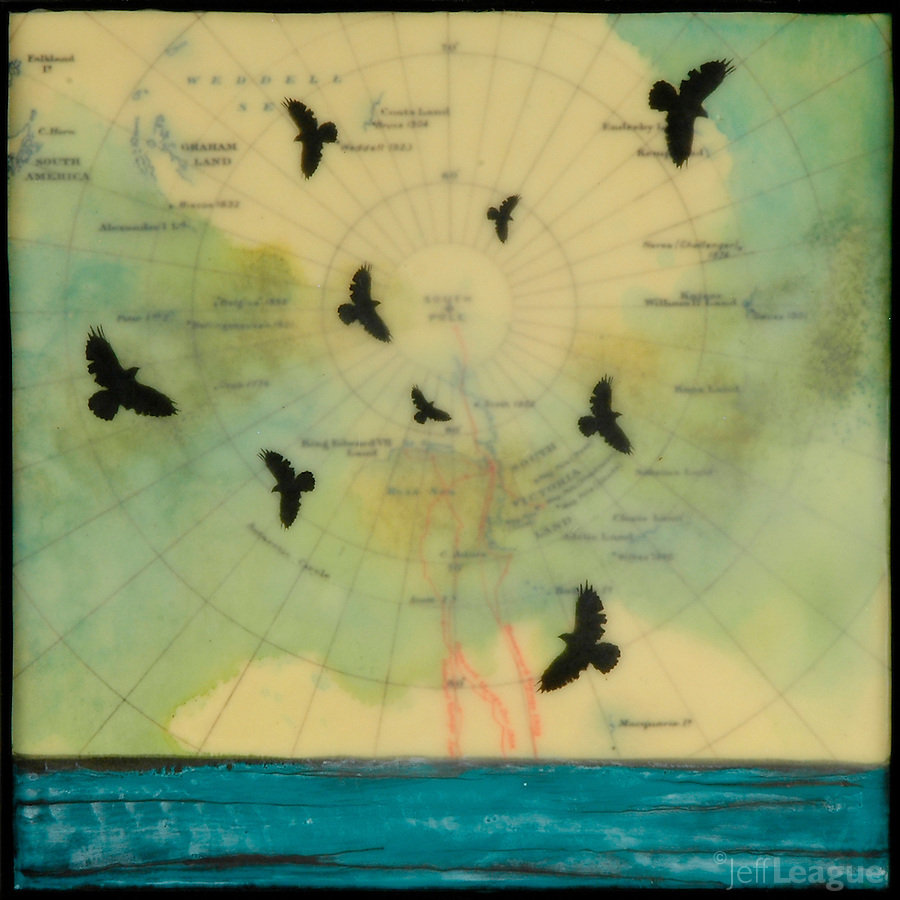 Encaustic painting over antique map of South Pole with birds over turquoise blue ocean