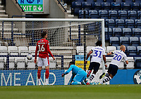 11th July 2020; Deepdale Stadium, Preston, Lancashire, England; English Championship Football, Preston North End versus Nottingham Forest;  Jayden Stockley of Preston North End  scores his side's first goal to make the score 1-1 after fifteen minutes
