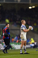 Jack Walker of Bath Rugby looks to throw into a lineout. Heineken Champions Cup match, between Leinster Rugby and Bath Rugby on December 15, 2018 at the Aviva Stadium in Dublin, Republic of Ireland. Photo by: Patrick Khachfe / Onside Images