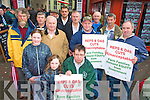 James McCarthy, Siobhan and Katie Leader, Morgan O'Sullivan, Denis Crowley, Richard Leader, John O'Donoghue, John Joe Rahilly, John Murphy, Ger Foley, Donal Counihan and Mike Cronin pictured at the IFA protest outside Jackie Healy Rae's clinic in Killarney on Saturday....