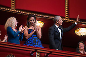 United States President Barack Obama and First Lady Michelle Obama attend the Kennedy Center Honors at the Kennedy Center in Washington, DC, USA, 06 December 2015. The 2015 Kennedy Center honorees are: singer-songwriter Carole King, filmmaker George Lucas, actress and singer Rita Moreno, conductor Seiji Ozawa, and actress and Broadway star Cicely Tyson.  Carole King is pictured at left.<br /> Credit: Jim LoScalzo / Pool via CNP