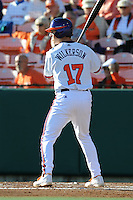 Second Baseman Steve Wilkerson #17 of the Clemson Tigers awaits a pitch during  a game against the North Carolina Tar Heels at Doug Kingsmore Stadium on March 9, 2012 in Clemson, South Carolina. The Tar Heels defeated the Tigers 4-3. Tony Farlow/Four Seam Images.