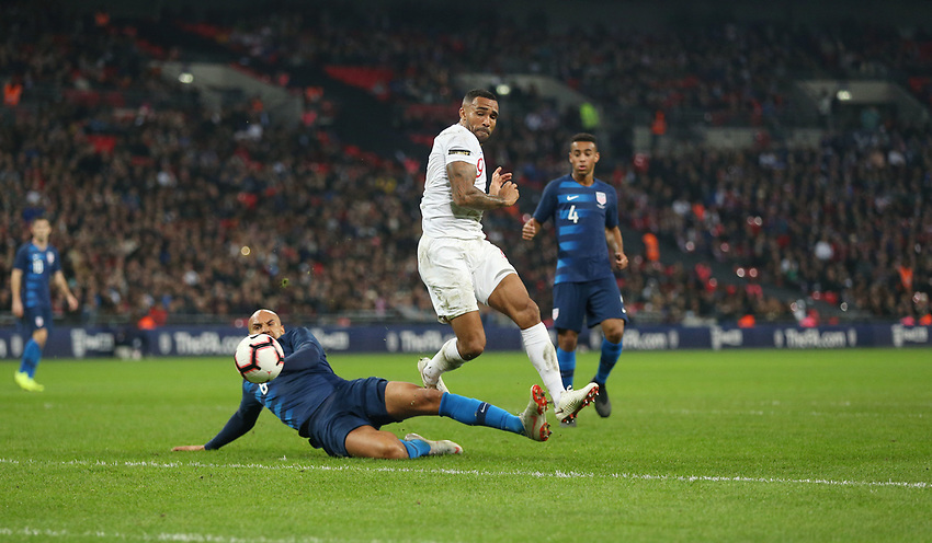 England's Callum Wilson scores his side's third goal <br /> <br /> Photographer Rob Newell/CameraSport<br /> <br /> The Wayne Rooney Foundation International - England v United States - Thursday 15th November 2018 - Wembley Stadium - London<br /> <br /> World Copyright © 2018 CameraSport. All rights reserved. 43 Linden Ave. Countesthorpe. Leicester. England. LE8 5PG - Tel: +44 (0) 116 277 4147 - admin@camerasport.com - www.camerasport.com