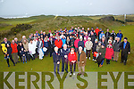 Large turn out despite the rainy conditions for Waterville Golf Clubs Captains Drive in on Sunday pictured front l-r; Eileen Riordan Lady President, Ted Foley Captain, Marie Mullins Lady Captain & Jimmy Sugrue President.