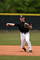 Saint Joseph's Hawks third baseman Stefan Kancylarz (15) during practice before a game against the Indiana Hoosiers on March 7, 2015 at North Charlotte Regional Park in Port Charlotte, Florida.  Indiana defeated Saint Joseph's 3-2.  (Mike Janes/Four Seam Images)