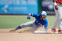Toronto Blue Jays Steward Berroa (17) slides into second base during an Instructional League game against the Philadelphia Phillies on September 23, 2019 at Spectrum Field in Clearwater, Florida.  (Mike Janes/Four Seam Images)
