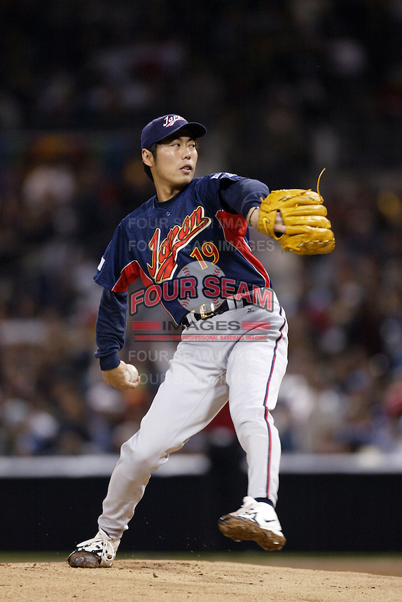 Koji Uehara of Japan during World Baseball Championship at Petco Park in San Diego,California on March 18, 2006. Photo by Larry Goren/Four Seam Images