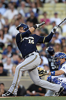 Aramis Ramirez #16 of the Milwaukee Brewers bats against the Los Angeles Dodgers at Dodger Stadium on May 31, 2012 in Los Angeles,California. Milwaukee defeated Los Angeles 6-2.(Larry Goren/Four Seam Images)