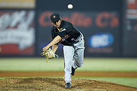 North Division pitcher Tyler Erwin (49) of the Frederick Keys delivers a pitch to the plate during the 2018 Carolina League All-Star Classic at Five County Stadium on June 19, 2018 in Zebulon, North Carolina. The South All-Stars defeated the North All-Stars 7-6.  (Brian Westerholt/Four Seam Images)