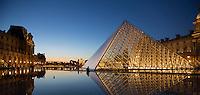 the Pyramid entry, Louvre Museum, (architect = I M Pei) Paris, France (R+L)