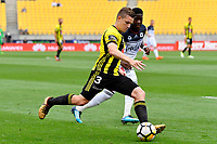 Wellington Phoenix&rsquo; Scott Galloway in action during the A League - Wellington Phoenix v Melbourne Victory FC at Westpac Stadium, Wellington, New Zealand on Sunday 3 December.<br /> Photo by Masanori Udagawa. <br /> www.photowellington.photoshelter.com
